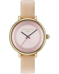 Ted Baker - Isla Round Leather Strap Watch, 36mm - Lyst