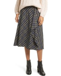 Vince - Drape Front Plaid Skirt - Lyst