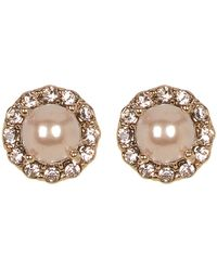 Marchesa - Simulated Pearl & Crystal Button Earrings - Lyst