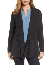 Eileen Fisher - Ribbed Merino Wool Long Cardigan - Lyst