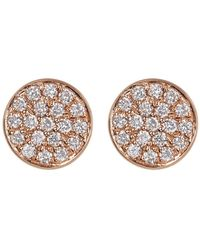 Bony Levy - 18k Rose Gold Pave Diamond Flat Circle Stud Earrings - 0.11 Ctw - Lyst