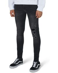 TOPMAN - Repair Spray-on Skinny Fit Jeans - Lyst