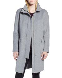 Kenneth Cole - Wool Blend Long Coat (regular & Petite) - Lyst