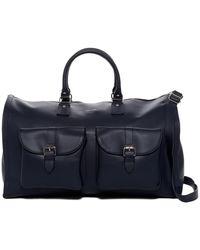 Hook + Albert - Navy Pebbled Leather Garment Weekend Bag - Lyst