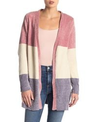Love By Design - Chenille Open Colorblock Cardigan - Lyst