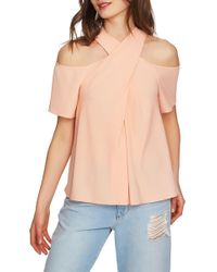 1.STATE - Cross Neck Cold Shoulder Top - Lyst