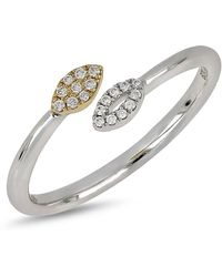 Bony Levy - 18k White & Yellow Gold Diamond Detail Marquise Ended Ring - 0.07 Ctw - Lyst