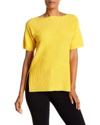 Lafayette 148 New York - Short Sleeve Bicolor Pleat Stitch Sweater - Lyst