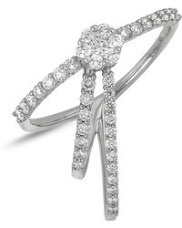 Bony Levy - 18k White Gold Diamond Detail Flower & Triple Band Detail Ring - Lyst