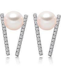 Tara Pearls - 14k White Gold 5-5.5mm Akoya Cultured Pearl & Diamond Bar Earrings - 0.16 Ctw - Lyst