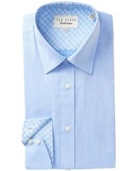 Ted Baker - Textured Solid Trim Fit Dress Shirt - Lyst