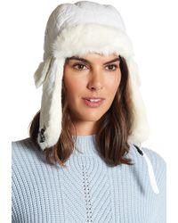 Surell - Genuine Rabbit Fur Trim Quilted Trooper Hat - Lyst