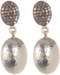 Gurhan - Sterling Silver Oval Top Jordan Pave Diamond Drop Earrings - 0.33 Ctw - Lyst
