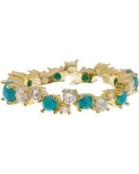 Melinda Maria - Sydney Turquoise & Cz Stacking Ring - Size 7 - Lyst