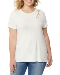 REBEL WILSON X ANGELS - Laced Shoulder Tee (plus Size) - Lyst