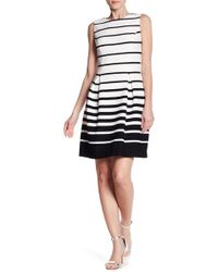 Eliza J - Pleated Striped A-line Dress - Lyst