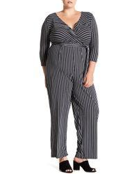 Derek Heart - Striped Tie Waist Jumpsuit (plus Size) - Lyst