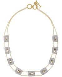 Freida Rothman - 14k Gold Plated Sterling Silver Cz Contemporary Deco Triple Stone Necklace - Lyst