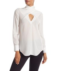 Chelsea and Walker - Criss Turtle Neck Silk Blouse - Lyst