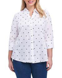 Foxcroft - Mary Dot Print Shirt (plus Size) - Lyst