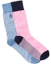 Original Penguin - Assorted Print Crew Socks - Pack Of 2 - Lyst