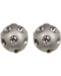 Adornia - Sterling Silver Swarovski Crystal Mini Disco Ball Studs - Lyst