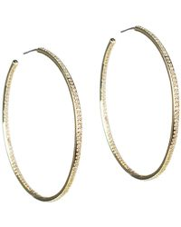 CZ by Kenneth Jay Lane - 18k Yellow Gold Plated Cz Pave 76mm Hoop Earrings - Lyst
