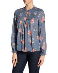 Lucky Brand - Ruched Floral Blouse - Lyst
