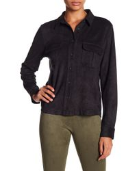 David Lerner - Micro Suede Button Down Top - Lyst
