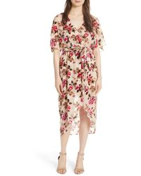 Alice + Olivia - Clarine Floral Faux Wrap Dress - Lyst