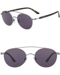 Giorgio Armani - Round 54mm Steel Sunglasses - Lyst