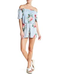 Angie - Off-the-shoulder Striped Floral Romper - Lyst