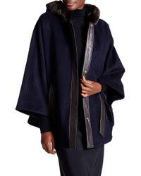 Ellen Tracy - Faux Fur Trim Wool Blend Cape - Lyst