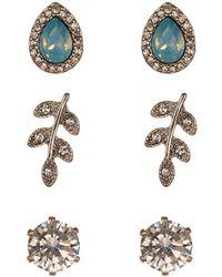 Joe Fresh - Cz Accented Earrings Set - Set Of 3 - Lyst