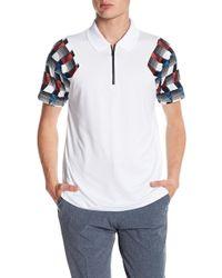 Perry Ellis - Printed Sleeve Zip Polo Shirt - Lyst