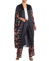On The Road - Raven Floral Print Satin Kimono Duster - Lyst