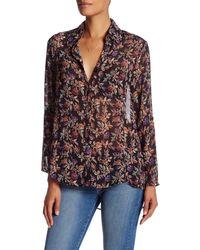 Sloane Rouge - Printed Long Sleeve Blouse - Lyst