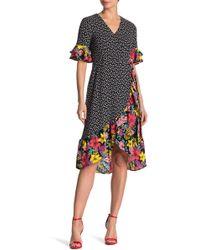 f3608b91e0c Spense - Mixed Print Ruffle Wrap Dress - Lyst