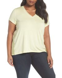 Sejour - Mixed Media V-neck Top (plus Size) - Lyst
