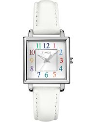Timex - Women's Main Street Collection Leather Strap Watch, 28mm - Lyst
