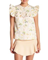Rebecca Taylor - Firefly Ruffled Floral Silk Top - Lyst