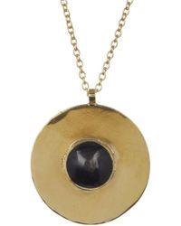 Soko - Shindi Bezel Set Black Horn Round Pendant Necklace - Lyst