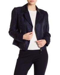 T Tahari - Crystal Tweed Faux Leather Collar Moto Jacket - Lyst