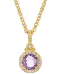 Judith Ripka - La Petite Round Gemstone Pendant Necklace - Lyst