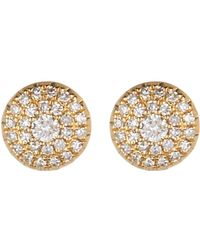 Ron Hami - 14k Yellow Gold Pave Diamond Halo Stud Earrings - 0.19 Ctw - Lyst