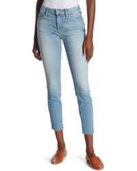 Mother - The Looker Fray Ankle Skinny Jeans - Lyst