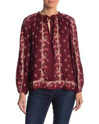 a3a7bf9882039 Lucky Brand - Patterned Tie Neck Peasant Blouse - Lyst