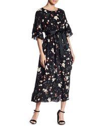 Soprano - Floral Back Cutout Midi Dress - Lyst