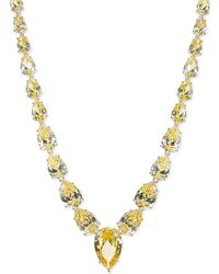 CZ by Kenneth Jay Lane - Graduated Teardrop Cz Station Necklace - Lyst