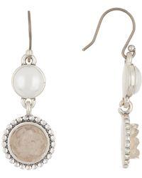 Lucky Brand - Druzy & 9mm Pearl Drop Earrings - Lyst